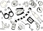 A doodle page of practical jokes. Includes rubber chicken, banana peel, snake nuts can, hand buzzer, arrow through the head, bang gun, bug in ice cube, squirting camera, whoopee cushion, chattering teeth, disguise glasses and joke talk bubbles.