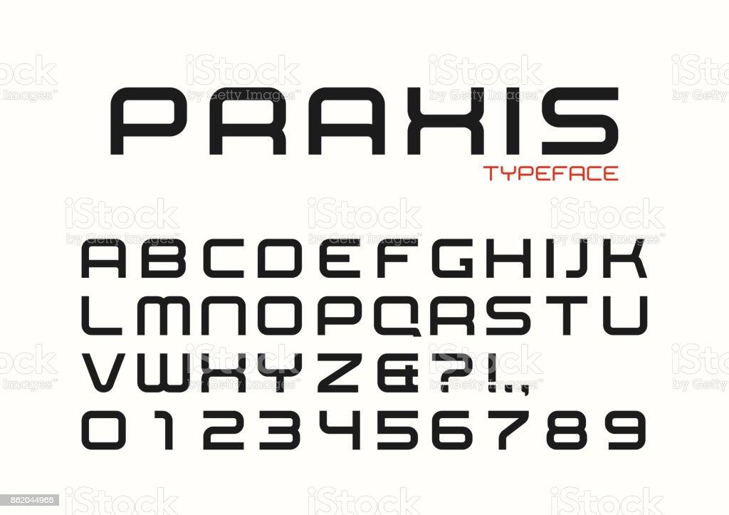 Praxis vector decorative regular font design, alphabet, typeface vector art illustration