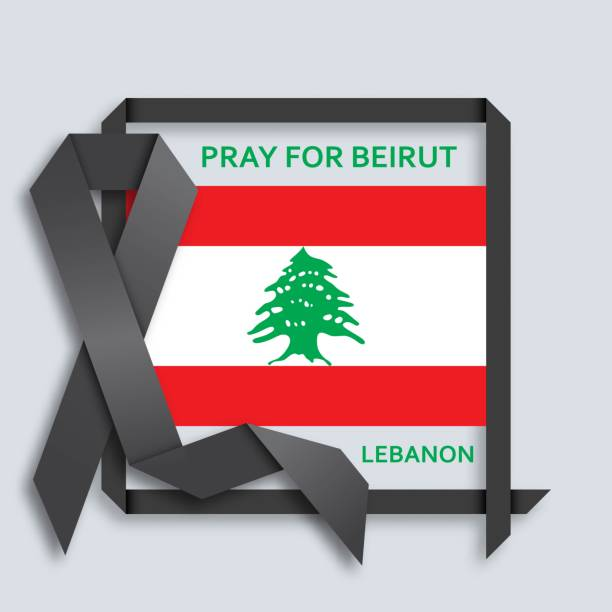 pray for beirut background with black ribbon and flag - beirut stock illustrations