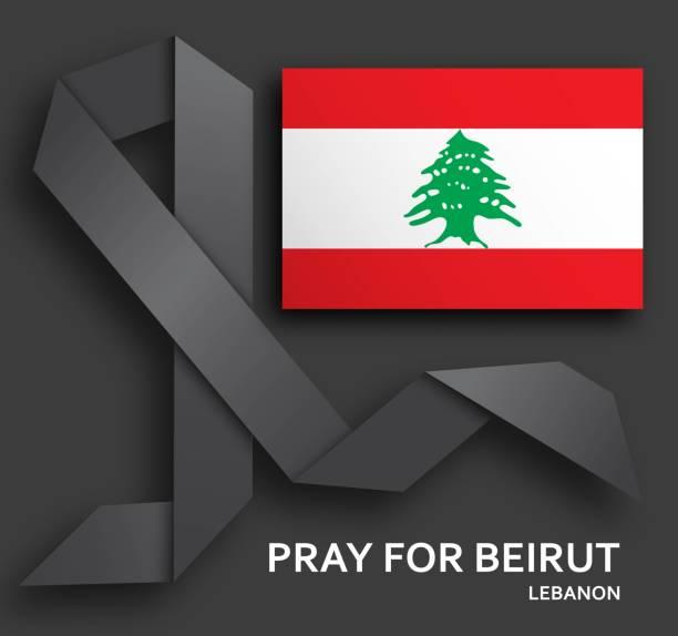 用黑絲帶和旗幟為貝魯特背景祈禱。 - beirut explosion 幅插畫檔、美工圖案、卡通及圖標