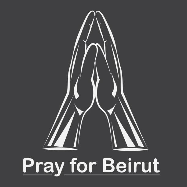 祈禱貝魯特背景, 雙手在祈禱位置。 - beirut explosion 幅插畫檔、美工圖案、卡通及圖標