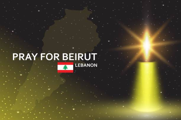 在星空背景下用逼真的蠟燭為貝魯特橫幅祈禱。 - beirut explosion 幅插畫檔、美工圖案、卡通及圖標