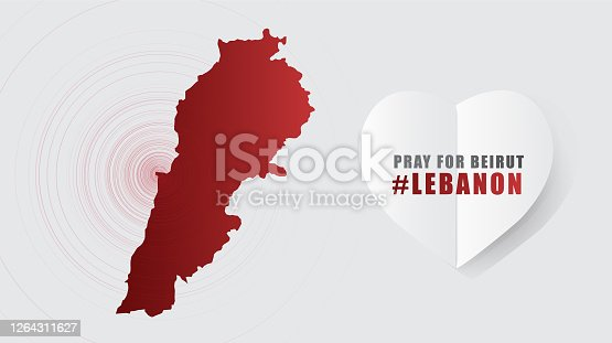 istock Pray for Beirut Lebanon Message with Map on Gray background; design for Support and help to people; charity; donate after  Beirut explosion; vector illustration. 1264311627