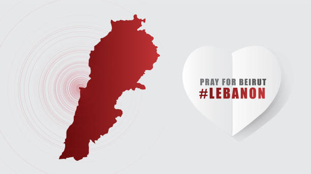 pray for beirut lebanon message with map on gray background; design for support and help to people; charity; donate after  beirut explosion; vector illustration. - beirut stock illustrations