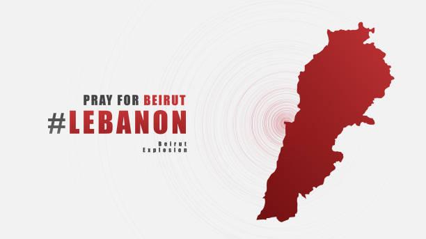 祈禱貝魯特黎巴嫩消息與灰色背景地圖;為支援和幫助人們設計;慈善;貝魯特爆炸後捐款;向量圖。 - beirut explosion 幅插畫檔、美工圖案、卡通及圖標
