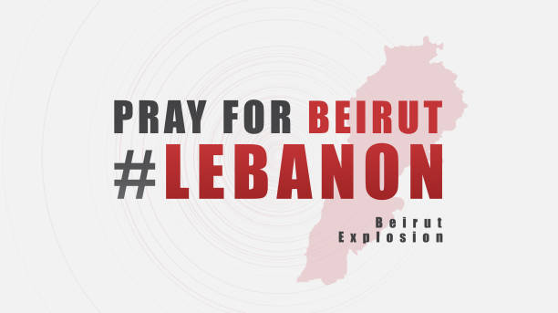 pray for beirut lebanon text message design for support and help to people; charity; donate after  beirut explosion; vector illustration. - beirut explosion stock illustrations