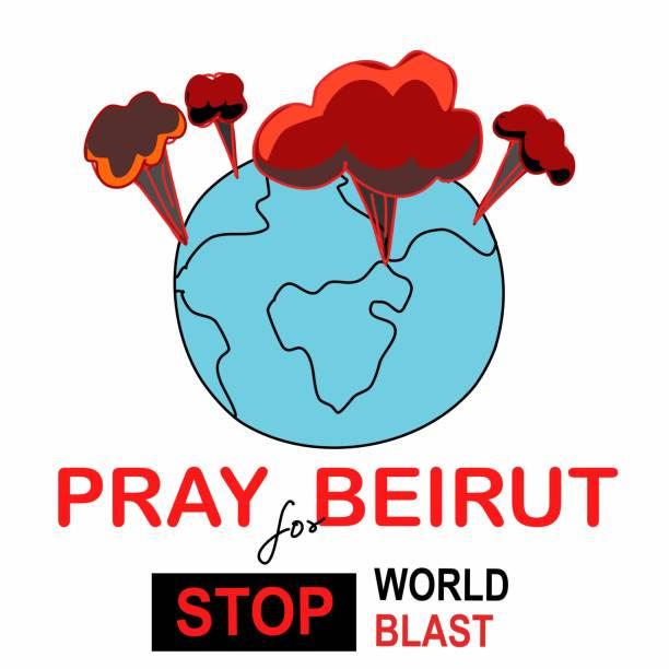 祈禱貝魯特祈禱黎巴嫩衝擊爆炸手畫卡通向量。 - beirut explosion 幅插畫檔、美工圖案、卡通及圖標