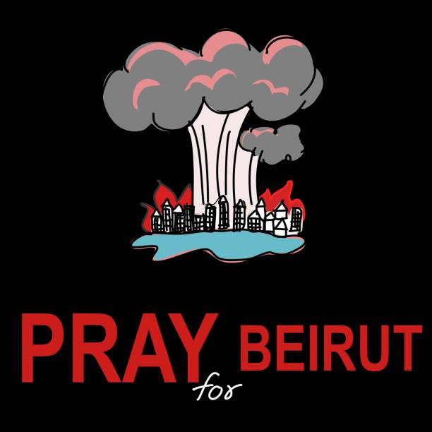 pray for beirut pray for lebanon shock blast hand drawn cartoon vector - beirut stock illustrations