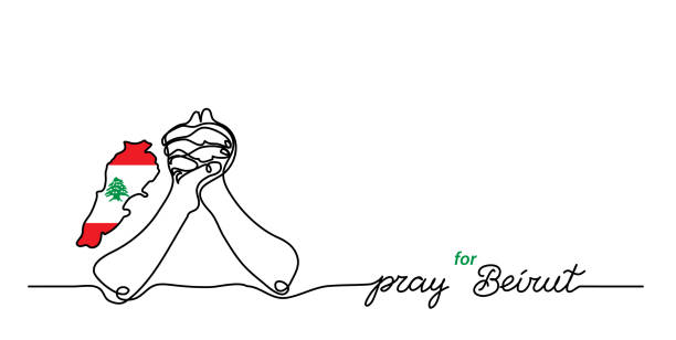 pray for beirut simple web banner, background with flag and map and pray gesture . one continuous line drawing with lettering beirut - beirut stock illustrations