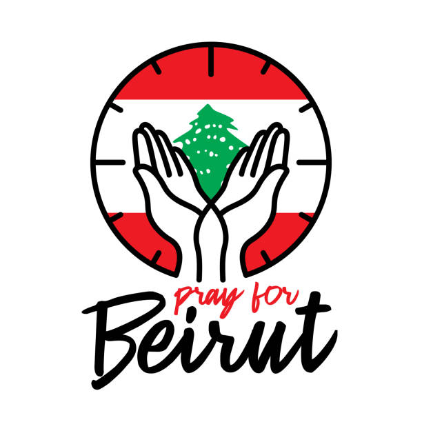 pray for beirut vector illustration on white background concept of praying, mourning, humanity for beirut lebanon massive explosion - beirut explosion stock illustrations