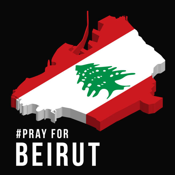 祈禱貝魯特向量插圖與貝魯特地圖在黑色背景的概念祈禱, 哀悼, 人道為貝魯特黎巴嫩大規模爆炸。 - beirut explosion 幅插畫檔、美工圖案、卡通及圖標