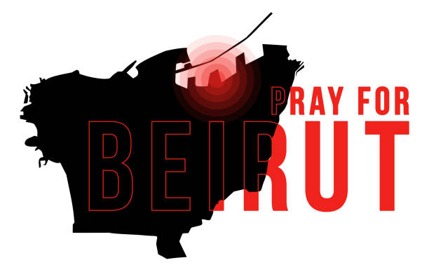 pray for beirut vector illustration with beirut map on black background concept of praying, mourning, humanity for beirut lebanon massive explosion - beirut explosion stock illustrations