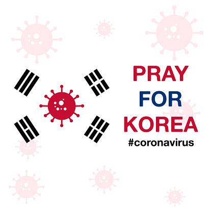 Pray for Korea, Coronavirus (Covid-19, 2019-ncov) Effect. Vector Illustration.
