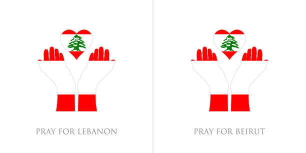 pray for lebanon and pray for beirut vector illustration. lebanon flag from massive explosion. design for humanity, peace, donations, charity and anti-war - beirut explosion stock illustrations