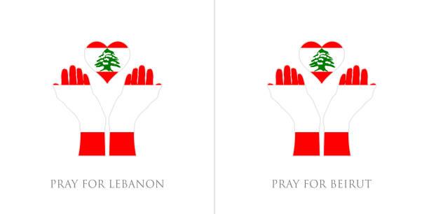 祈禱黎巴嫩和祈禱貝魯特向量插圖。黎巴嫩國旗從大規模爆炸。人類、和平、捐贈、慈善和反戰的設計。 - beirut explosion 幅插畫檔、美工圖案、卡通及圖標