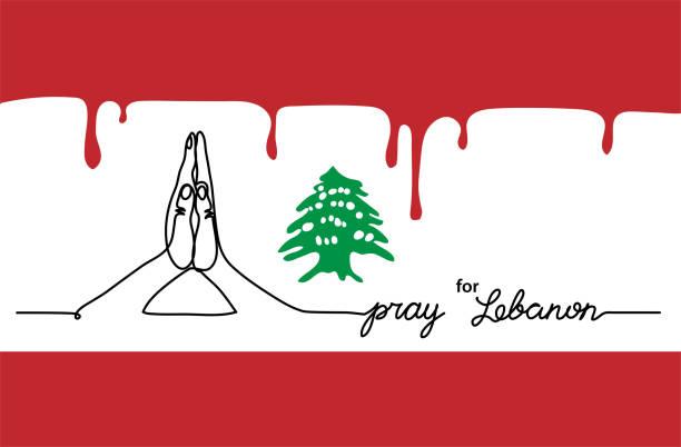 beten sie für libanon einfache web-banner, hintergrund mit flagge und karte und gebet geste. eine durchgehende linienzeichnung mit dem schriftzug libanon - beirut stock-grafiken, -clipart, -cartoons und -symbole