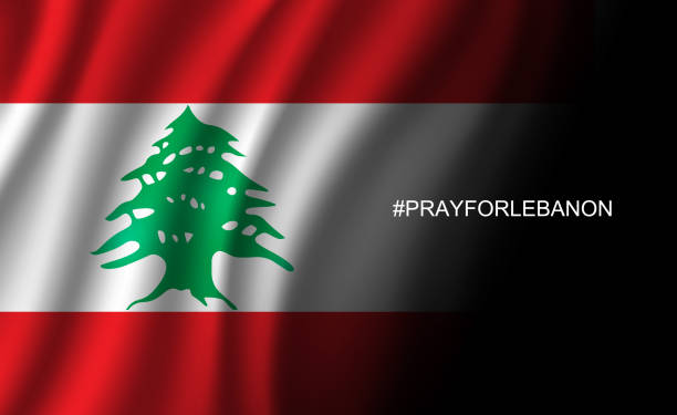 pray for lebanon wording hashtag to beirut on lebanon flag background from massive explosion, vector illustration - beirut stock illustrations