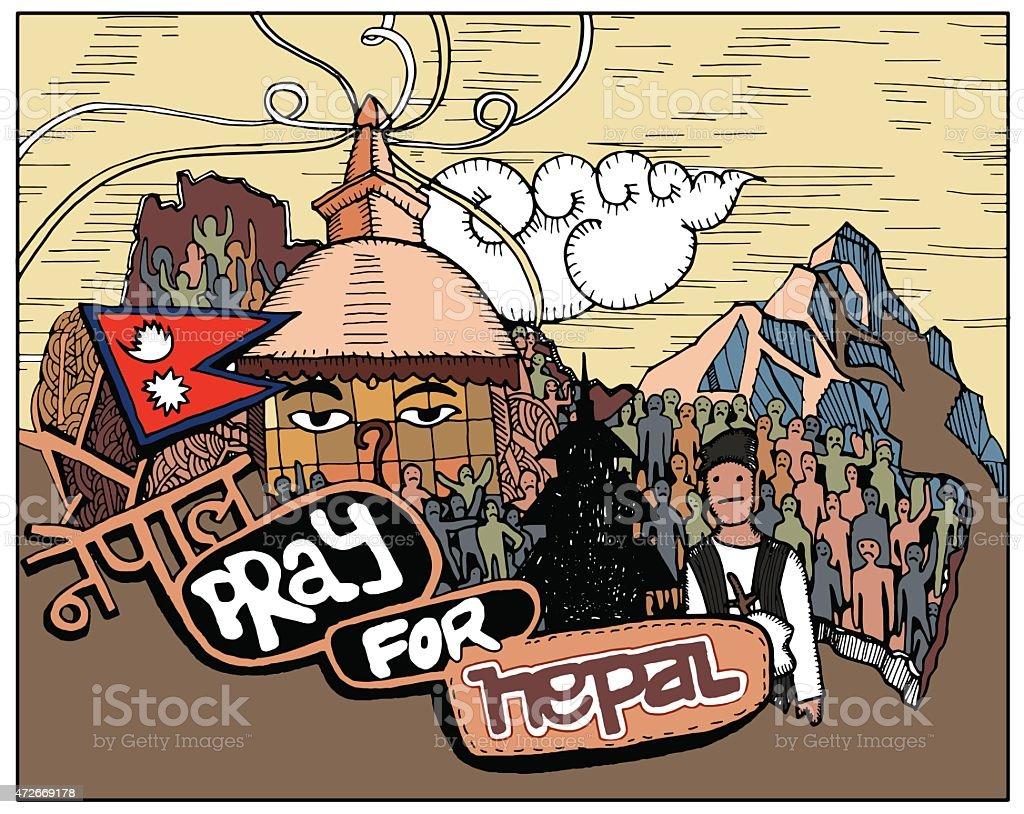 Pray for Nepal ,Hand drawn style.Vector illustration. vector art illustration