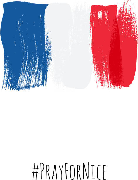 ilustraciones, imágenes clip art, dibujos animados e iconos de stock de pray for nice hashtag with flag of france vector illustration. - bandera francesa