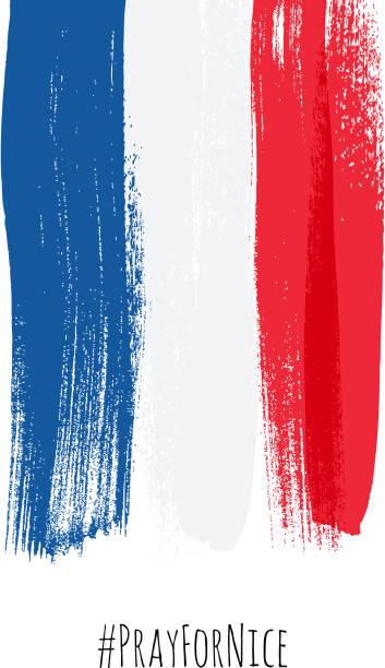 ilustrações, clipart, desenhos animados e ícones de pray for nice hashtag with flag of france vector illustration. - bandeira da frança