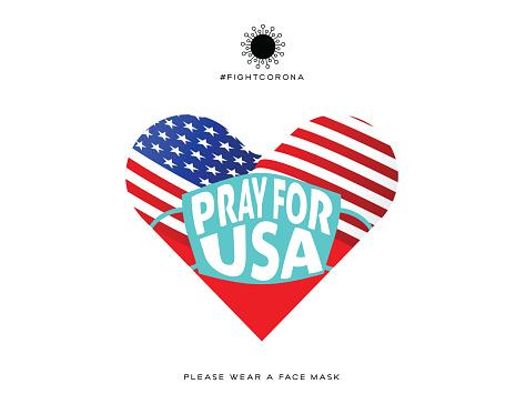 Pray for USA. Heart Shape. Wuhan Virus Disease vector icon with face mask. China Novel Coronavirus Disease concept design stock illustration. Covid-19 Vector Template