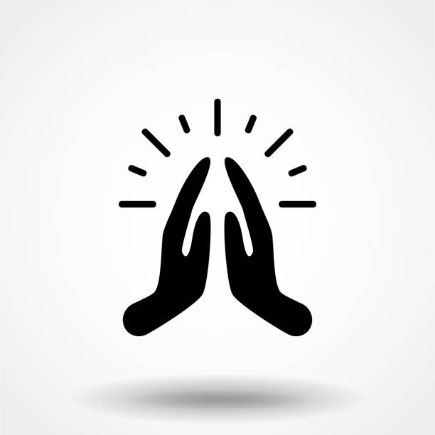 ilustrações de stock, clip art, desenhos animados e ícones de pray or hands together in religious prayer flat vector icon for apps and websites - milagre evento religioso