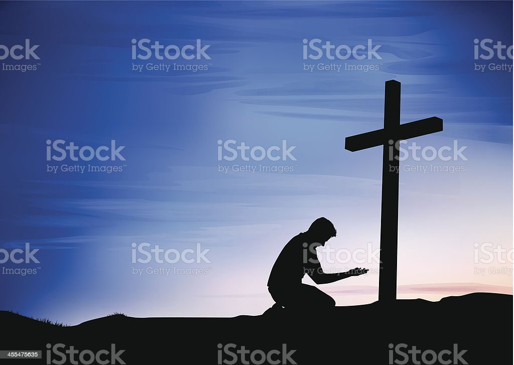 Prayer at the Cross vector art illustration