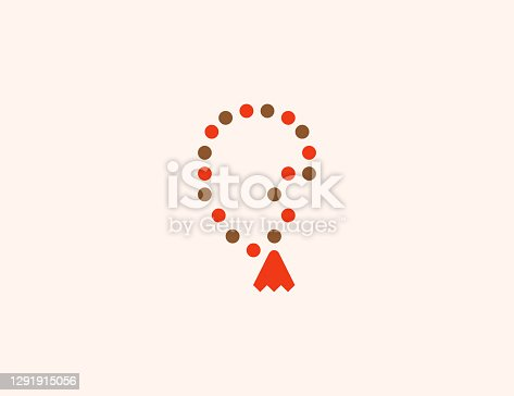 istock Prayer Beads vector icon. Isolated Rosary Beads flat, colored illustration symbol - Vector 1291915056