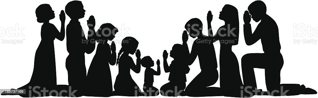 Prayer Group Silhouettes vector art illustration