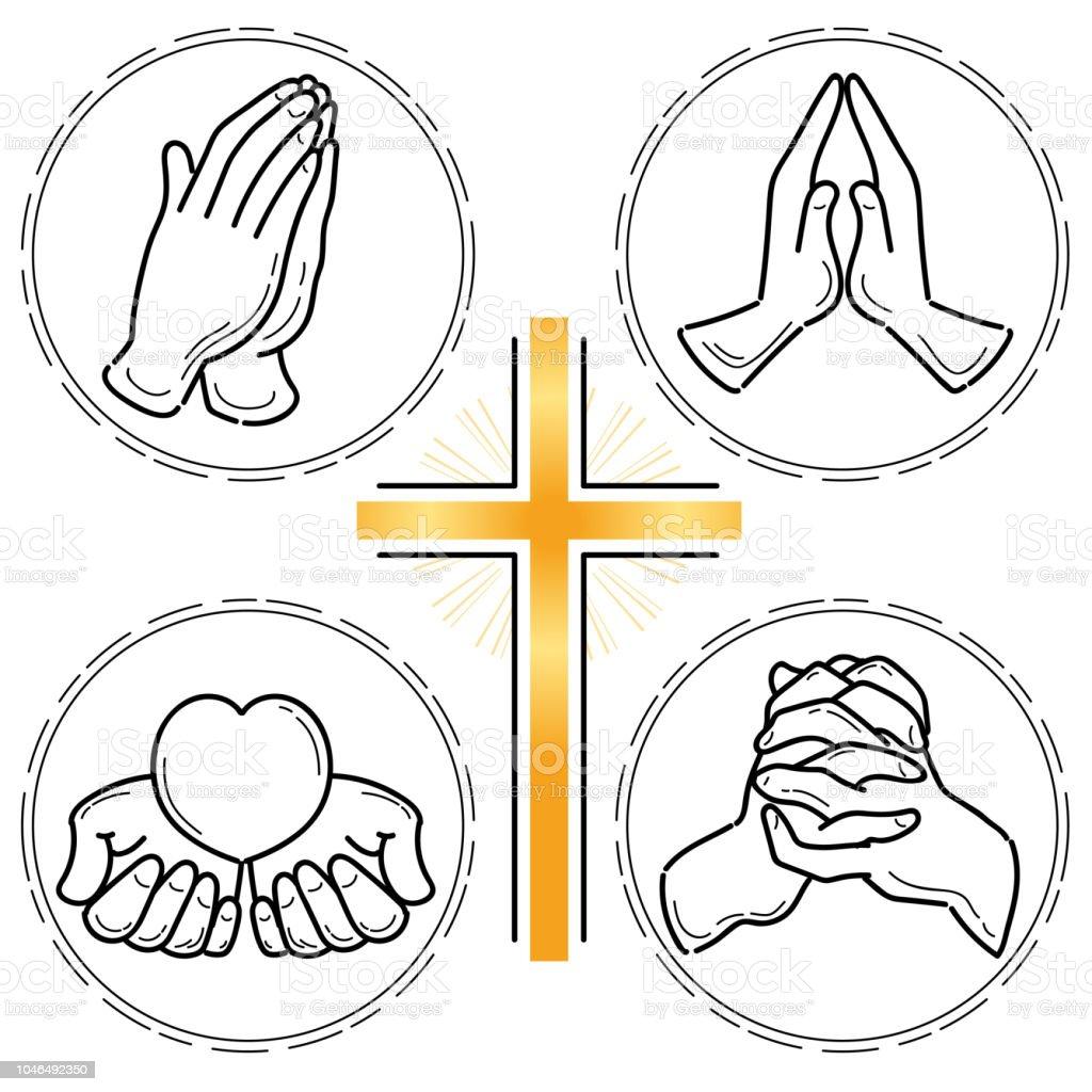 祈り手セット キリスト教 いたずら書きのベクターアート素材や画像を