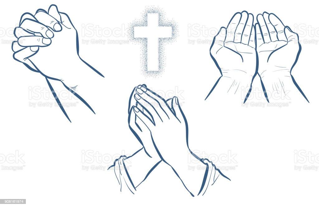 Gebet-Hand-set – Vektorgrafik