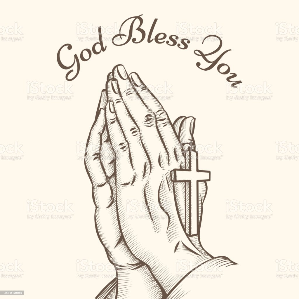 Prayer hand with cross vector art illustration