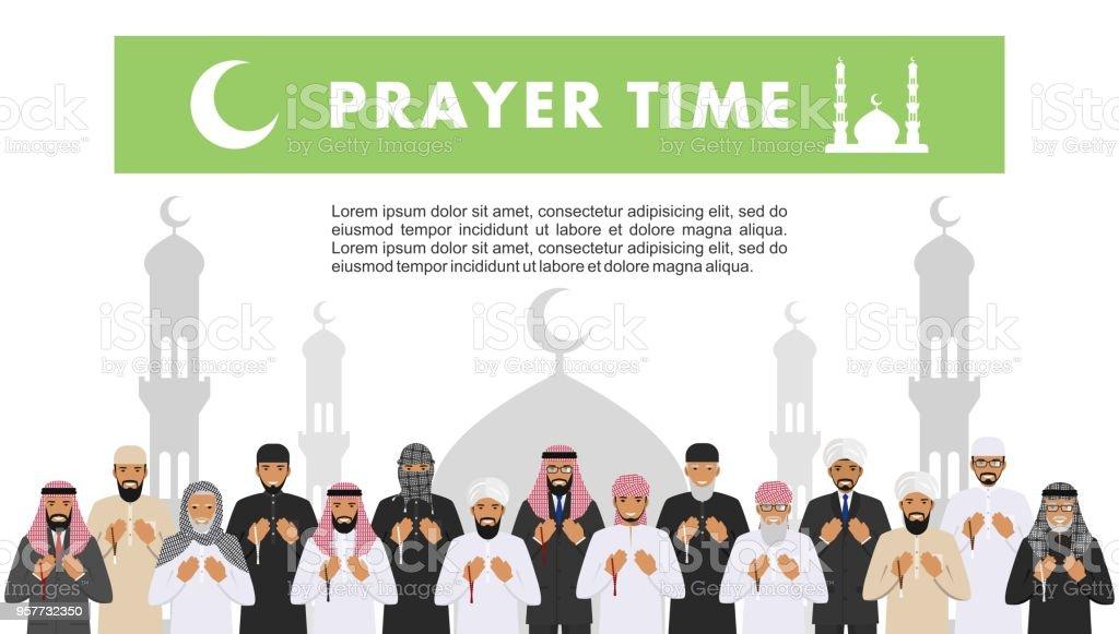 Prayer Time Different Standing Praying Muslim Arabic People