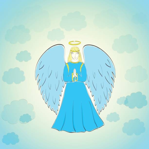 betender engel im blauen himmel - schutzengel stock-grafiken, -clipart, -cartoons und -symbole
