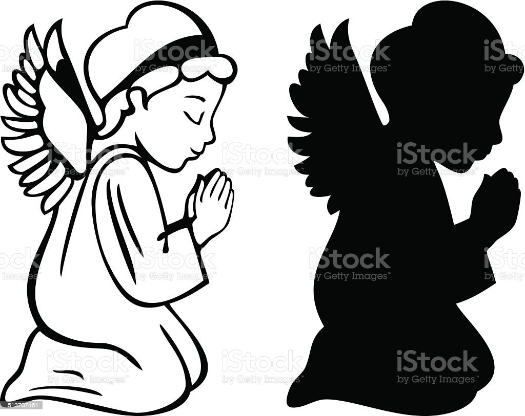 Praying Angel vector art illustration