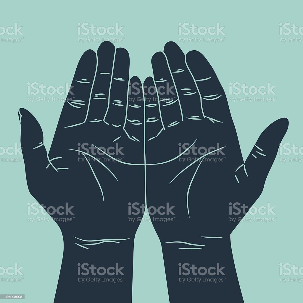praying hand gesture vector art illustration