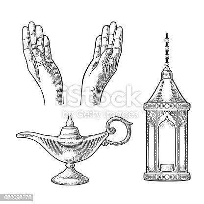Two Praying Hands, arabic hanging lamp with chain and Aladdin magic metal lamp. For poster or banner Ramadan kareem. Vector black vintage engraving illustration isolated on a white background.