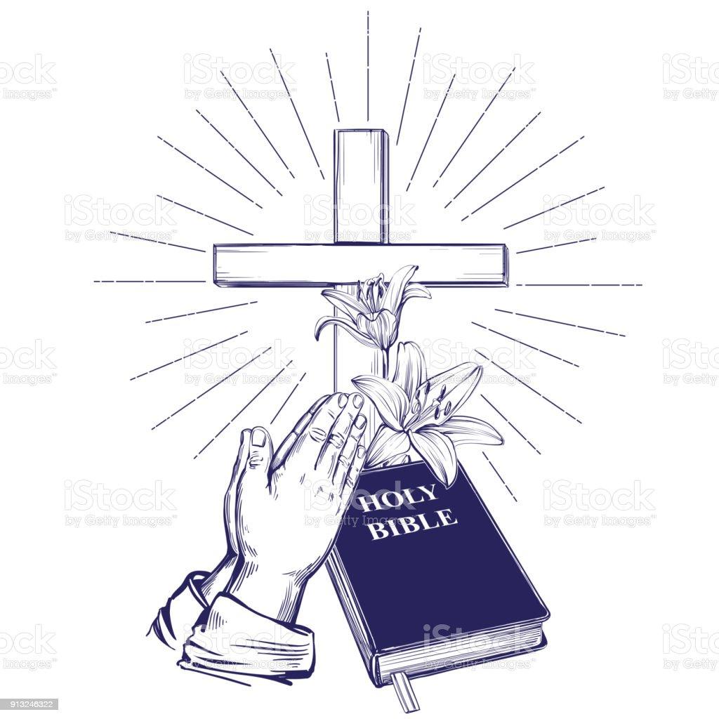 Vetores De Orando Maos Biblia Evangelho Coroa De Espinhos Cruz De
