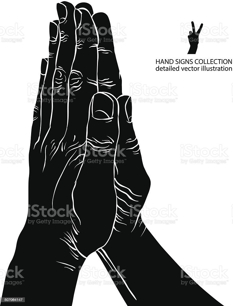 Praying hands, detailed black and white vector illustration. vector art illustration