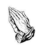Praying Hands Sticker White