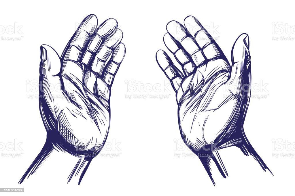 Vetores De Orando Com As Maos Simbolo Do Cristianismo Mao Desenho