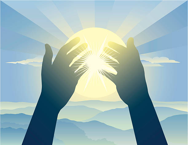 Praying Hands Uplifted hands in prayer against a sun-filled sky. god stock illustrations
