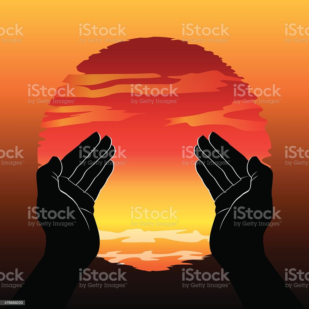 Praying hands vector art illustration
