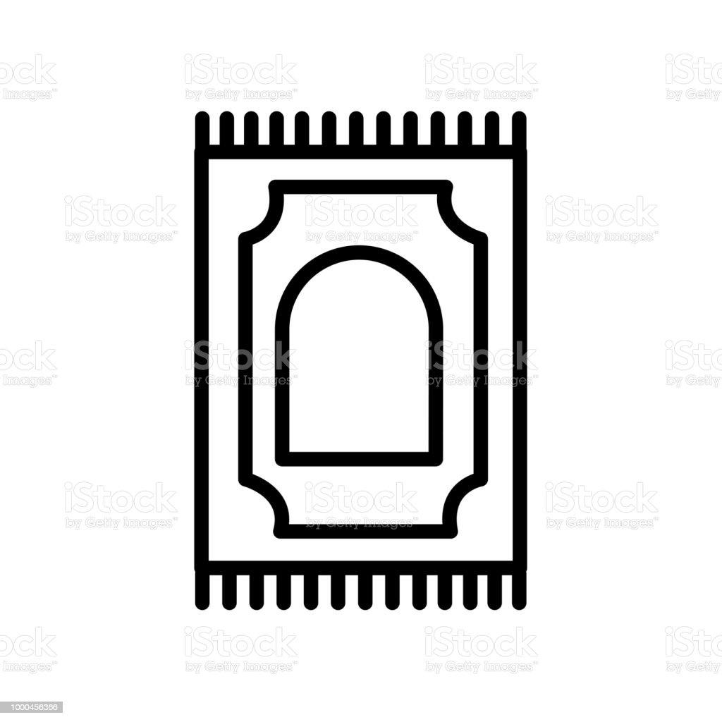 Praying Mat icon isolated on white background vector art illustration