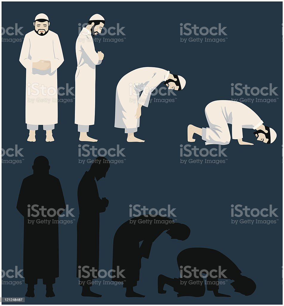 Praying Movements of A Muslim Man vector art illustration