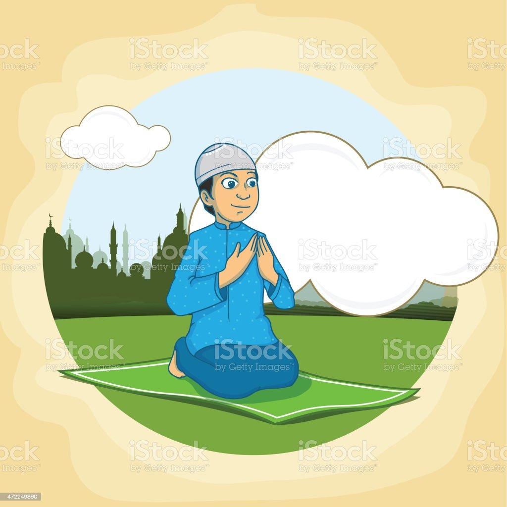 Praying Muslim boy for holy month Ramadan Kareem celebration.