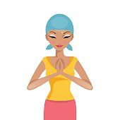 Praying woman cancer patient. Vector illustration