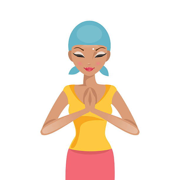 praying woman cancer patient. vector illustration - cancer patient stock illustrations