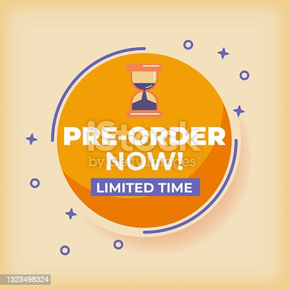 istock Pre order now label badges. limited time order with flat design 1323498324