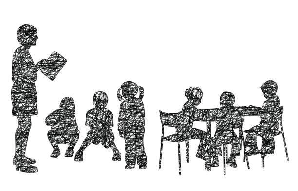 Pre School Class Scribble illustration of a teacher in front of a kindergarten class preschool teacher stock illustrations